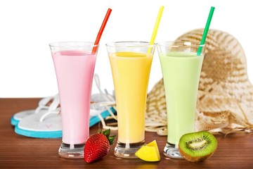 Mango. Strawberry, mango and kiwi soft drink, smoothie, and
