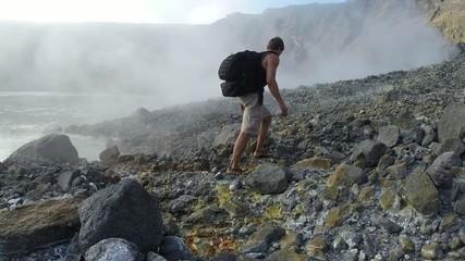 Walking in active volcanic crater