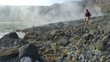 Man hikes in active volcanic crater