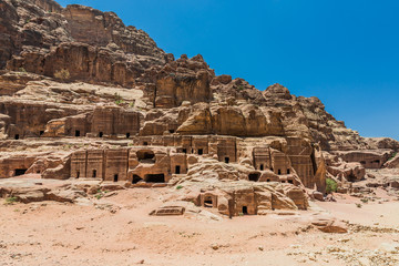 Street of Facades in Nabatean city of  Petra Jordan