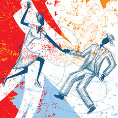 Swing dancing couple