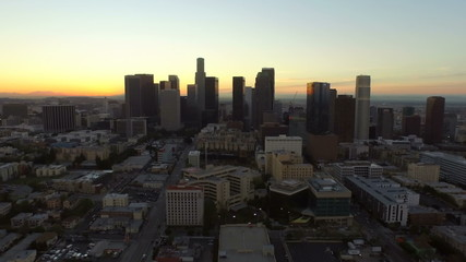 Los Angeles Aerial Downtown Cityscape Dawn