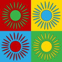 Pop art sun symbol icons.