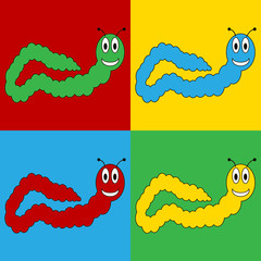 Pop art earthworm symbol icons.