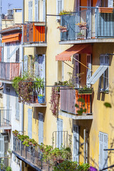 Nice, France. The old city, typical architectural details