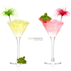 Two Exotic Cocktails Lemon and Grapefruit Granita