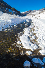 Vertical panorama of the mountain river
