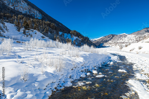 River in a mountain valley at winter - 80155029