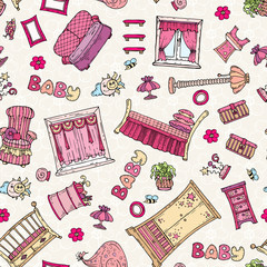 Vector pattern with hand drawn furniture for girl's room in pink