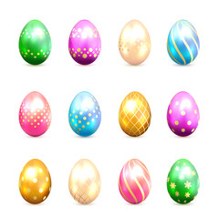 Set of Easter eggs with decorative patterns