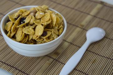 sweet breakfast full grains nutrition caramel nuts concept