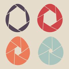 shutter eggs icon set