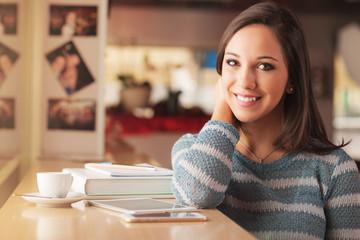 Smiling woman at the bar