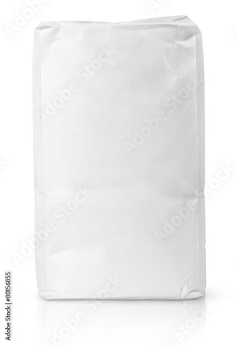 Blank paper bag package of flour on white with clipping path - 80156855