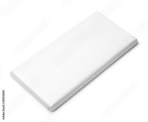 Top view of blank chocolate Bar Package isolated on white - 80156864