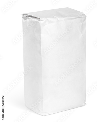 Fotobehang Aromatische Blank paper bag package of flour on white with clipping path