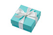 Leinwandbild Motiv Isolated turquoise gift box on white background with path