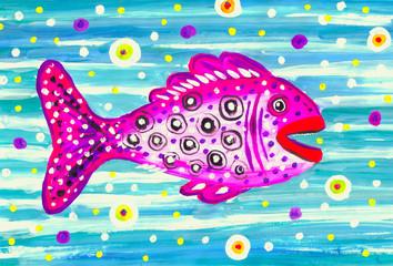 Детский рисунок ,,Розовая рыба,,.
