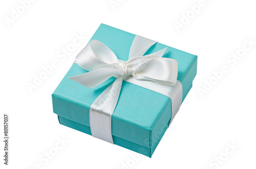 Isolated turquoise gift box on white background with path - 80157037