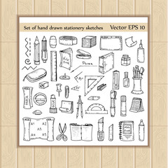 Vector set of hand drawn and isolated stationery sketches