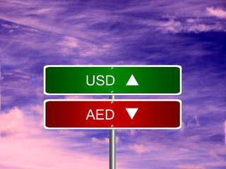 AED USD Forex Sign