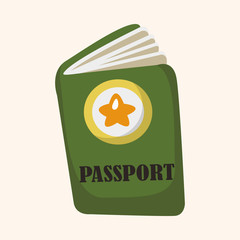 Travel equipment passport theme elements