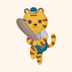 Animal tiger doing sports cartoon theme elements