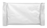 Blank plastic pouch food packaging on white