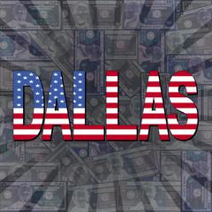 Dallas flag text on dollars sunburst illustration
