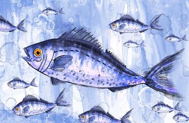 Стая голубых рыб. Рисунок-иллюстрация.