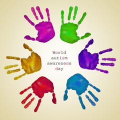 handprints of different colors and text world autism awareness d