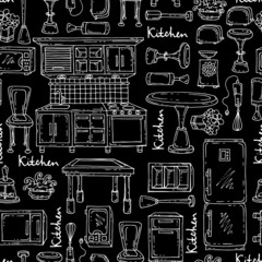 Pattern with kitchen furniture, household appliances on black