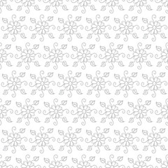 Vector pattern with hand drawn and spring flowers on white color