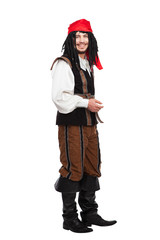 Smiling funny man dressed as a pirate with dreadlocks isolated