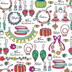 Vector pattern with hand drawn and fashionable jewelry for women