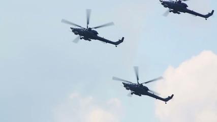 Five Mi-28N Berkuts (russian pilots) flies on air show