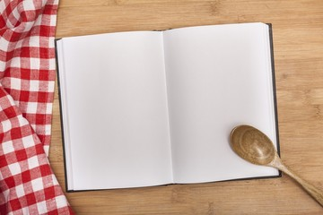 Notes. blank cooking recipe notes or book  with pencil on