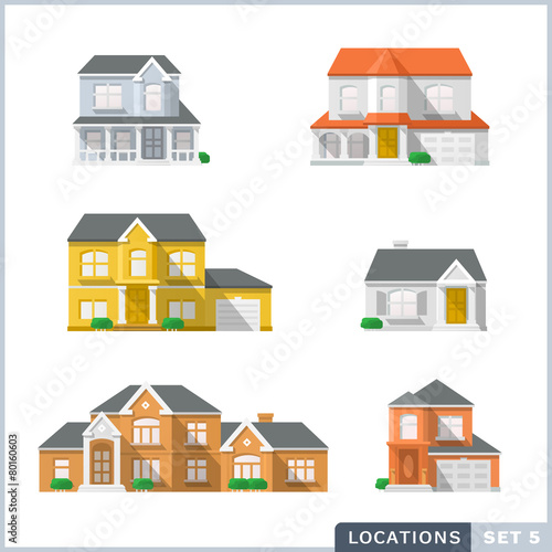 House icon set 1, Private residential architecture. - 80160603