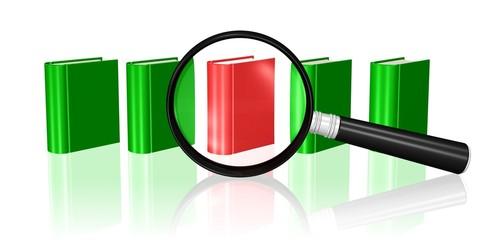 Bücher und Lupe - Informationen suchen und finden