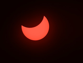 Solar eclipse phenomenon, real photo, Ukraine, 20 March 2015