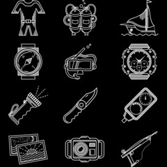 White line vector icons for diving