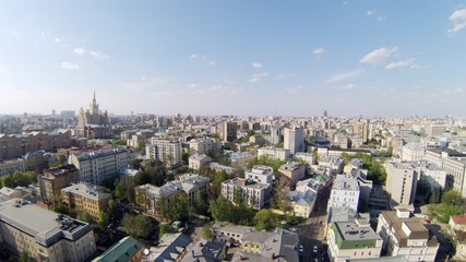 Aerial view of a large city during the day, timelapse