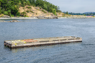 Floating Wooden Pontoon off the Coast of Vancouver Island