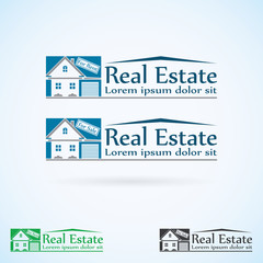 Real Estate vector logo design template color set.