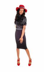 Beautiful black girl standing.