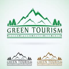 Mountains vintage vector logo design template, green tourism