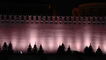 Kremlin wall with illumination at night, shown in motion