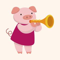 animal pig playing instrument cartoon theme elements