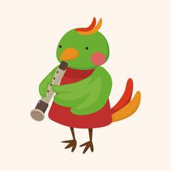 animal bird playing instrument cartoon theme elements