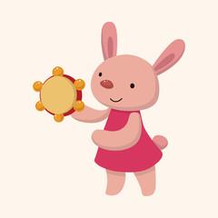animal rabbit playing instrument cartoon theme elements
